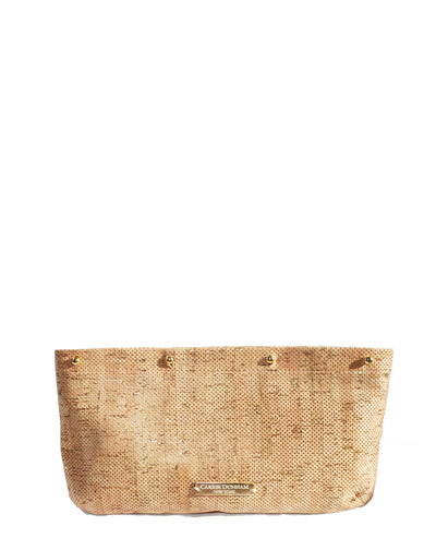 Metallic Gold Perforated Cork interchangeable Clutch Cover on Carrie clutch