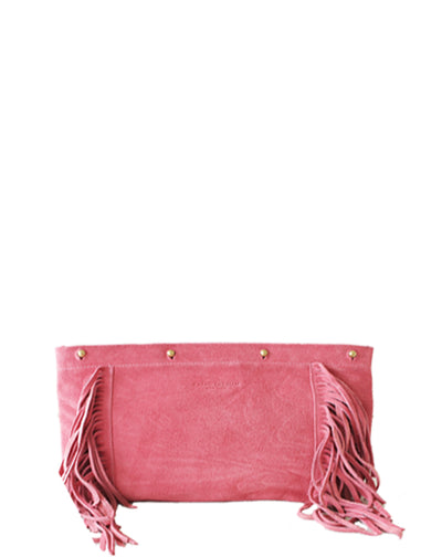 blush suede fringed clutch bag