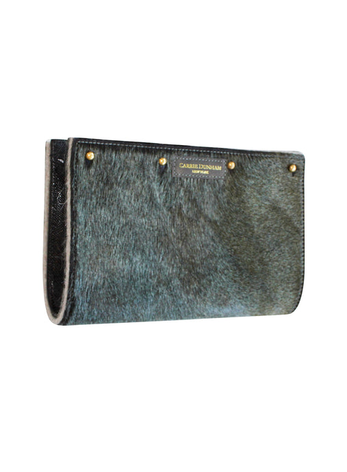 Lizzie Reversible Clutch Cover: Blue/green Hair on Hide/Camel Alpaca