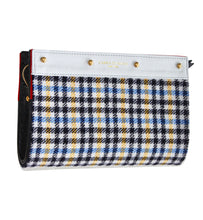 Lizzie Reversible Clutch Cover: Red & Navy Suede/Grey/Blue Yellow Check Wool