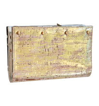 Lizzie Reversible Clutch Cover: Silver Camo Leather/Gold Cork