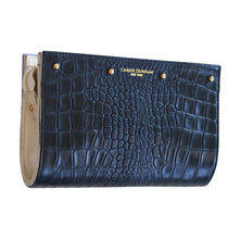 Lizzie Reversible Clutch Cov er: Navy Croc/Blue and White Embroidered Silk