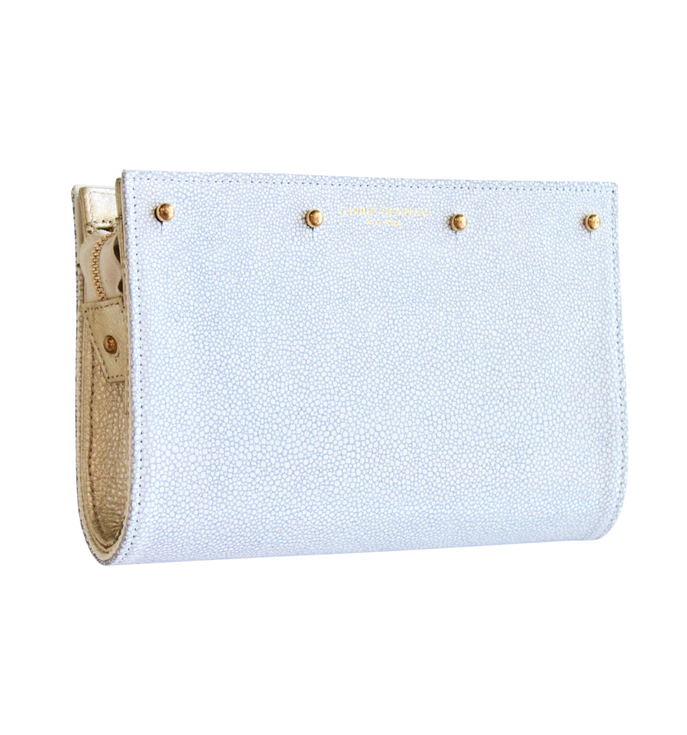 Lizzie Reversible Periwinkle Stingray /White Raffia Clutch Cover