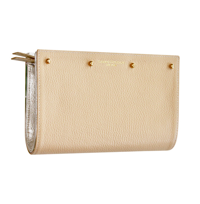 Lizzie Reversible Clutch Cover: Nude Pebble/Pink and Green Palm Leaf Print