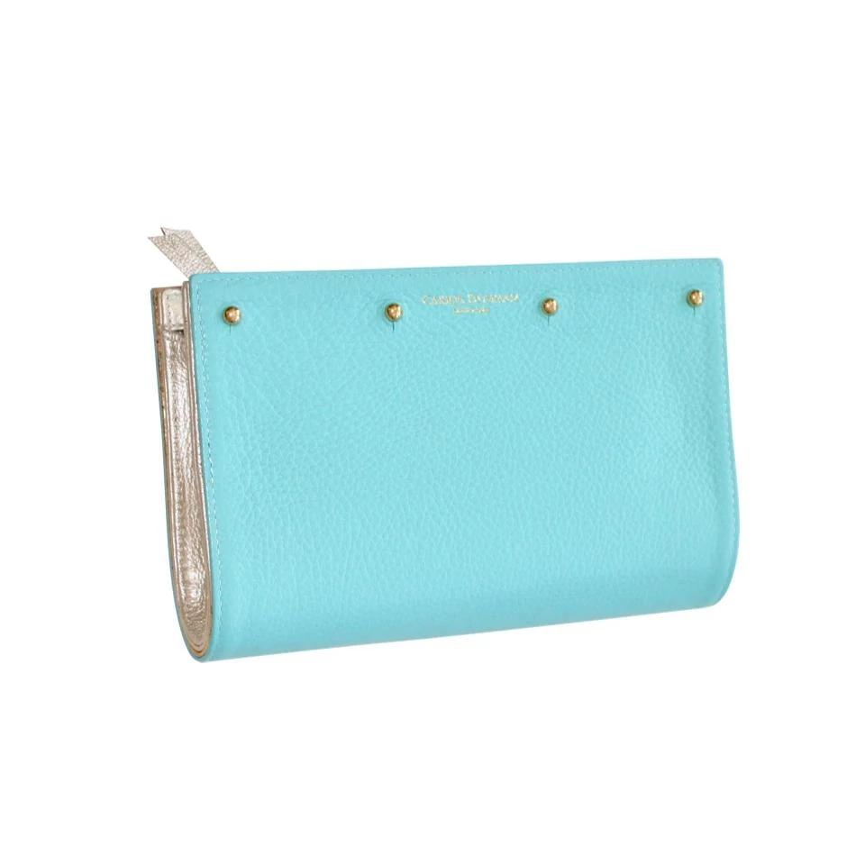 Lizzie Reversible Clutch Cover: Turquoise Pebble /Gold Cork