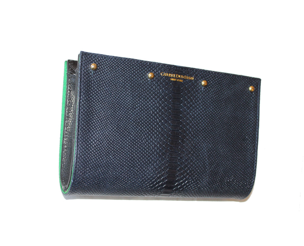 Lizzie Reversible Clutch Cover: Navy Lizard to Kelly Green Silk