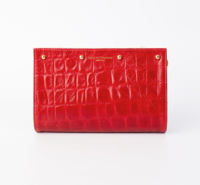 Lizzie Reversible Red Embossed Croc/Charcoal Wool Clutch Cover