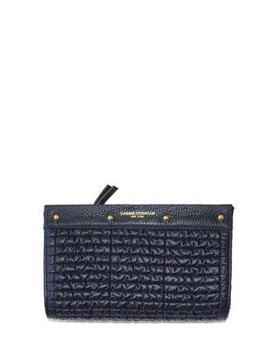 Navy quilted nylon with navy pebble leather trim Lizzie interchangeable reversible clutch cover