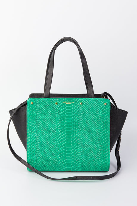Lizzie Reversible Handbag Cover: Kelly Green Embossed Python Leather/Navy Linen