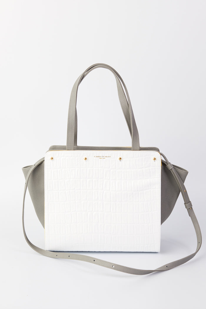Lizzie Reversible Handbag Cover: White Embossed Croco Leather/Yellow Linen