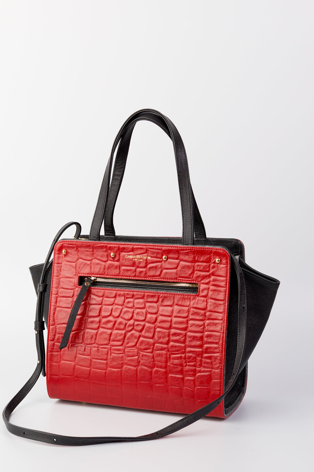 Lizzie Reversible Handbag Cover: Red Embossed Croc Italian Leather/Charcoal Wool