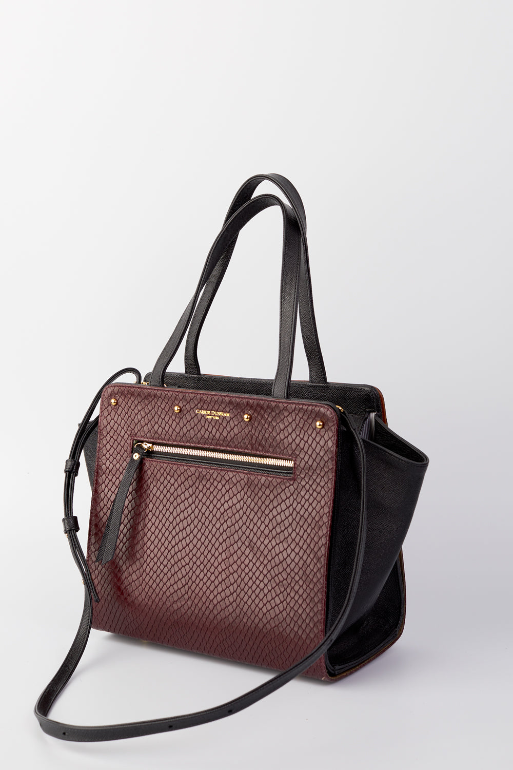 Lizzie Reversible Handbag Cover: Burgundy Embossed Snake Italian Leather/Plaid Waxed Cotton Handbag