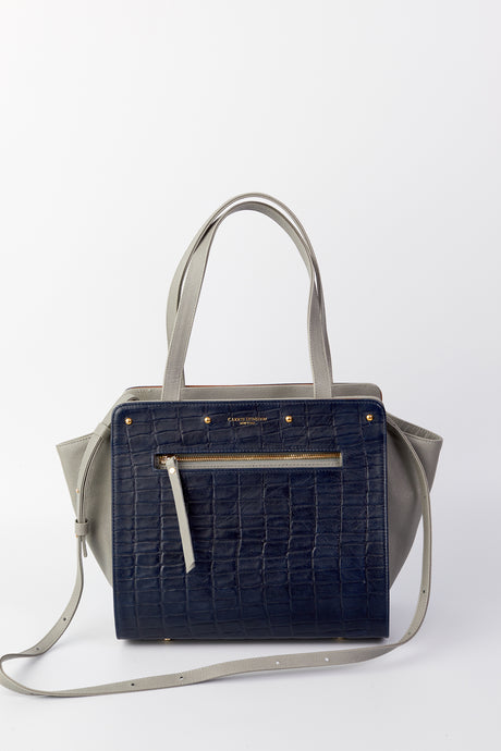 Lizzie Reversible Handbag Cover: Navy Embossed Croco Leather /Brown Waxed Cotton with Leather Trim