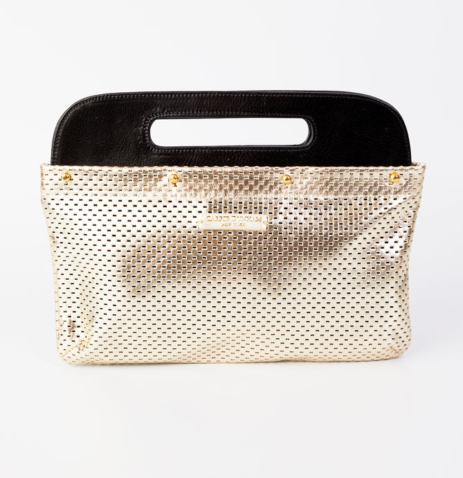 Perforated Light Gold Leather Clutch Cover