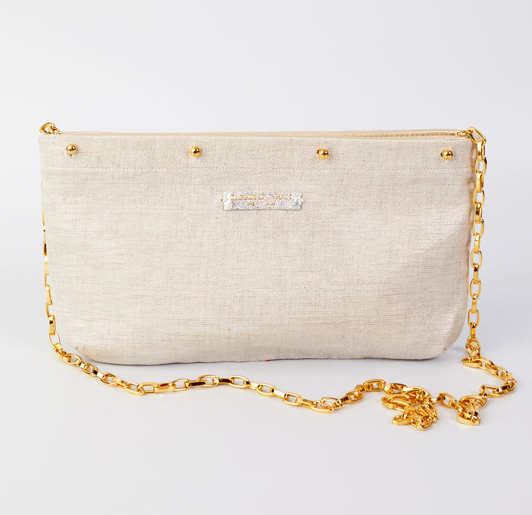 Metallic Silver Linen Clutch Cover