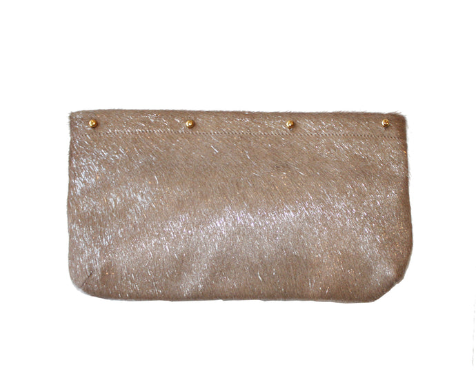 Light Camel with Metallic Silver Hair on Hide Clutch Cover