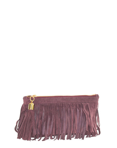 burgundy fringed bag