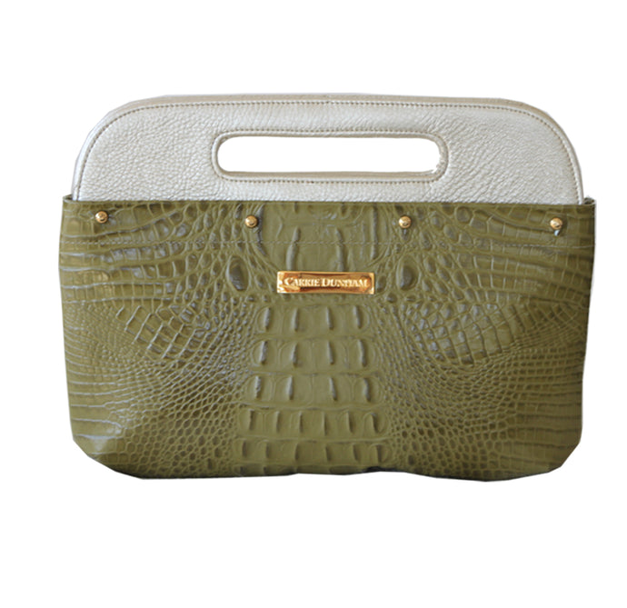 Olive Croc Leather Clutch Cover