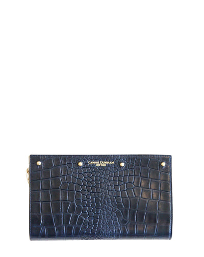 Navy croc leather Lizzie reversible interchangeable clutch cover
