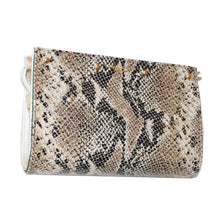 Lizzie Reversible Clutch Cover: Cream/Brown & Black Python to Hunter Green Suede