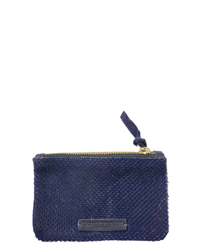 Navy perforated hair on hide italian leather mini clutch wallet
