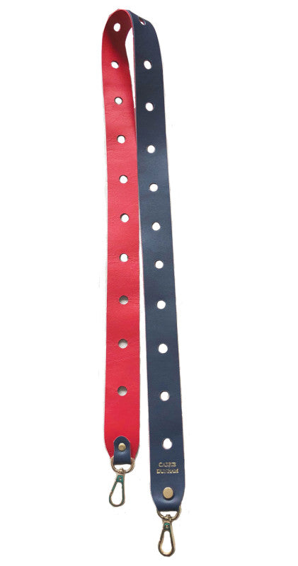 Navy & Red Long Leather Strap