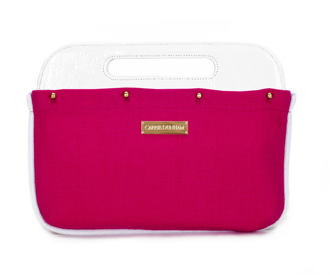Hot Pink with White Piping Linen Clutch Cover