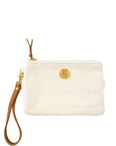 Italian Canvas Wristlet with Tan Leather Strap