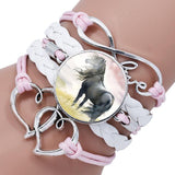 Antique Silver Leather Bracelet With Beautiful Horse Pictures