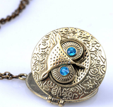 Retro Chic Owl Eye Statement Bronze Pendant Necklace