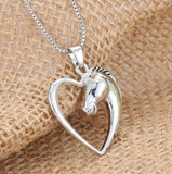 Plated Heart Horse Pendant Necklace