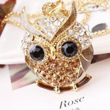 Owl Pendants Vintage Charms Crystal Long Necklace