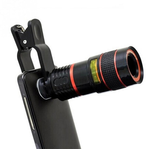 Universal Clip 8X 12X Zoom Mobile Phone Telescope Lens Telephoto External Smartphone Camera Lens for iPhone foSumsung HTC Huawei