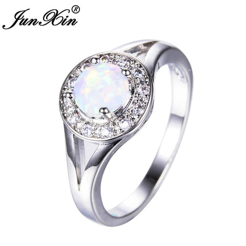 White Round Ring 925 Sterling Silver Filled Jewelry Vintage Wedding Fire Opal Rings For Women