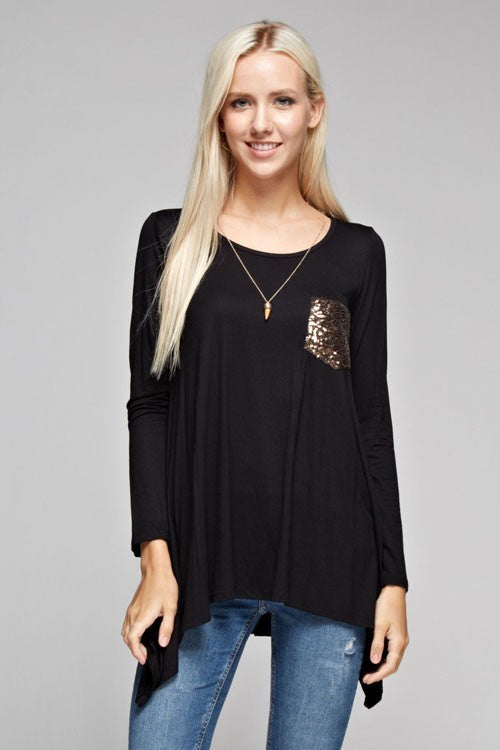 Long Sleeve Scoop Neck With Sequin Pocket