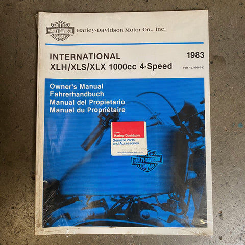 NOS Vintage 1983 International XLH/XLS/XLX 1000cc 4 Speed Owners Manual in 4 Languages