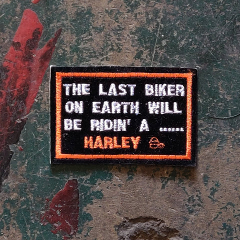 Vintage Licensed Velvet Harley Davidson Embroidered Last Biker On Earth Patch