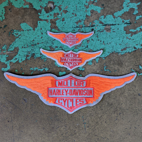 Vintage Licensed Felt Harley Davidson Embroidered Bar & Shield Wings Patch - Three Sizes