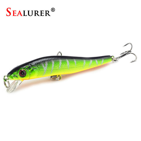 1PCS SEALURER Minnow Hard Bait  Fishing Lures 5 Colors You Can Chose With  3D Eyes 8cm5.5g