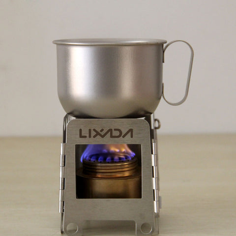 Portable Stainless Steel Wood Stove + Backup Alcohol Burner Pocket Stove Outdoor Camping