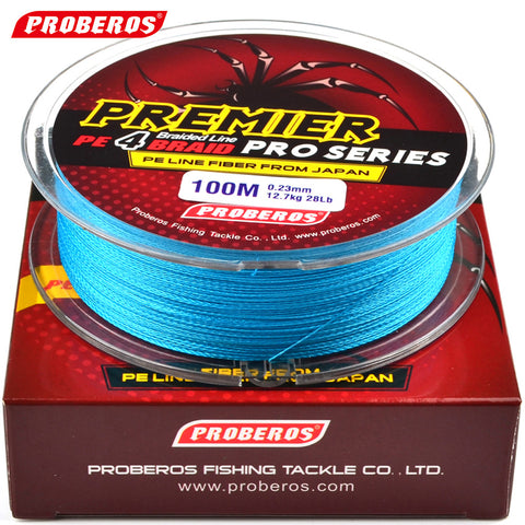 100M Fishing Line Proberos Brand Red/Green/Grey/Yellow/Blue braided fishing line available 8LB-100LB PE Line Red Package