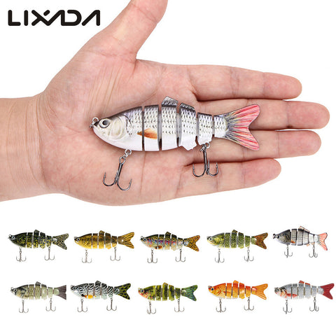 Lixada 10cm 20g Fishing Wobblers 6 Segments Swimbait Crankbait Fishing Lure Bait with Artificial Hooks