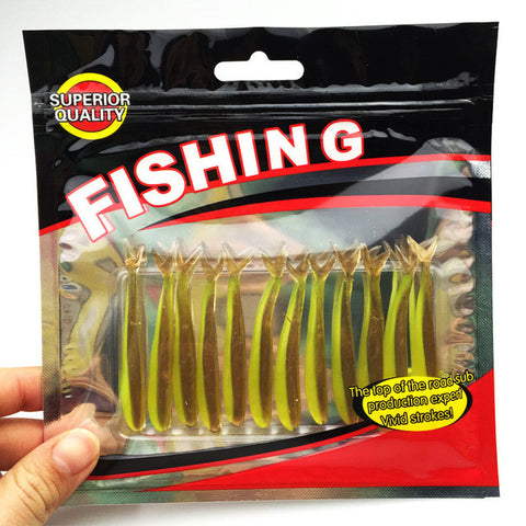 New12pcs/lot  64mm/1.27g Vivid Soft Lures Artificial Loach Fishing Bait Fishing Worm Fishing Tackle Fishing Lures Swimbait  052