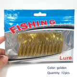 12 pcs / bag Artificial Curly Tail Maggot Grub Worm Fishing Lures Soft Grubs smell 6.5cm 1.82g for Sea River Lake Fishing 032