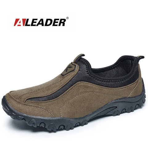 Aleader Suede Leather Mens Shoes Casual Outdoor Slip On Oxfords Durable Trek Shoes