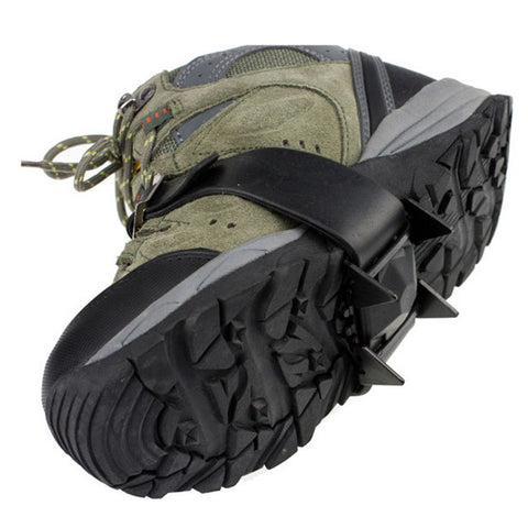 One Pair 4 Teeth Ice Snow Crampons Anti-skid Boot Shoes Cover Spikes Cleats for Outdoor Climbing Hiking Walking - Black