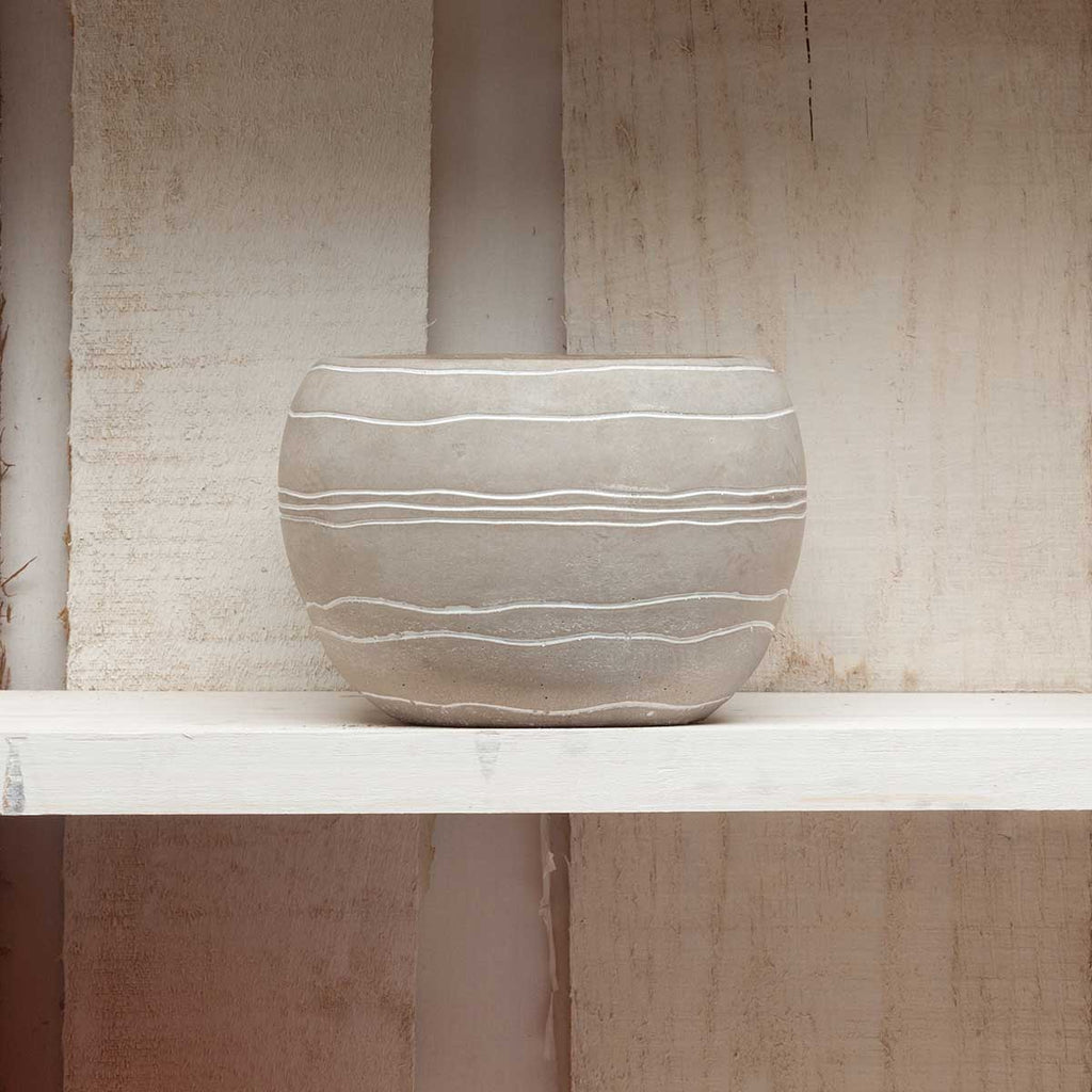 Taupe Striped Pot