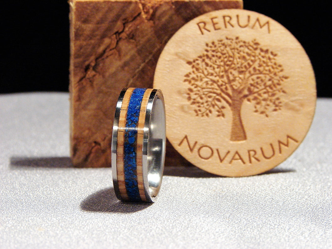 Oak Whiskey Barrel And Lapis Lazuli Stone Inlay Titanium Ring
