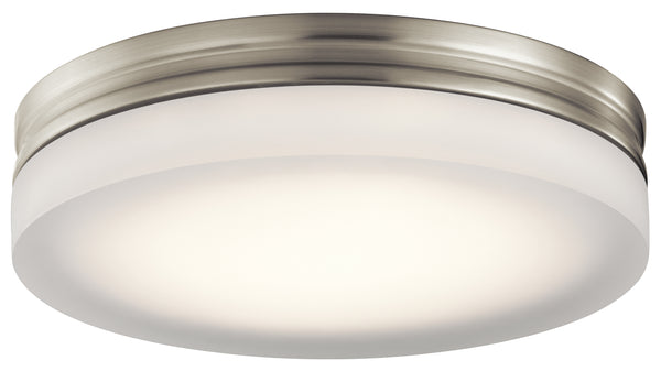 "Elan 83803 Rylee 11"" 30W LED Ceiling Flush-mount Brushed Nickel Finish With Press Glass With White Inside"" - Seginus Lighting"