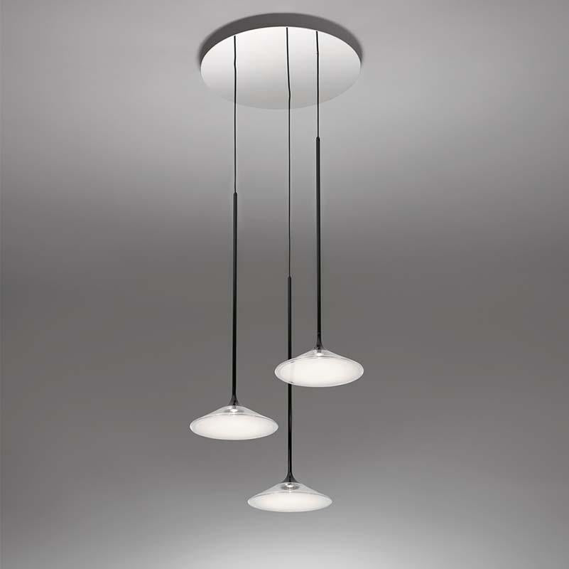 Artemide 0353038A Orsa 21 Inch 3X7.3W 2-Wire Dimmable Black Suspension LED Light - Seginus Lighting